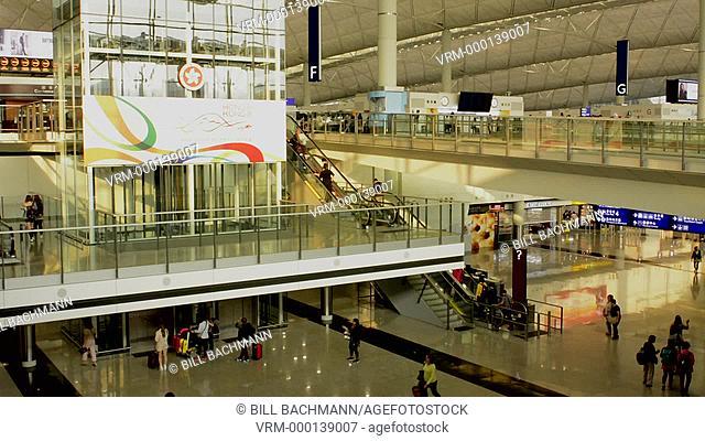 Hong Kong China International airport interior with passengers in terminal