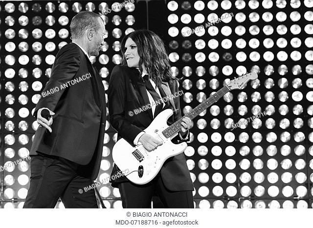 Italian singer Laura Pausini and Biagio Antonacci during Laura Biagio Stadi 2019 tour at Stadio Olimpico. Rome, June 29th, 2019