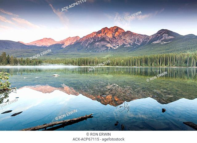 Pyramid Mountain and Pyramid Lake as seen from Pyramid Island in Jasper National Park, Alberta, Canada