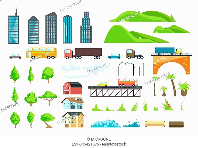 Flat city map vector elements with urban transport, road, trees and buildings. Illustration of bridge and automobile, green grass and bench for interface