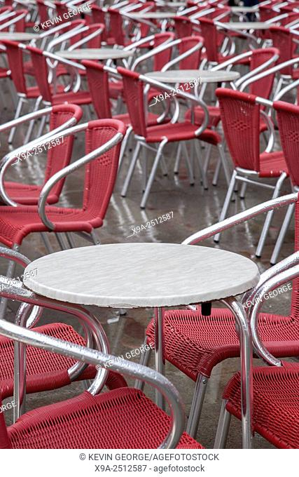 Cafe Tables and Chairs in San Marcos - St Marks Square, Venice, Italy