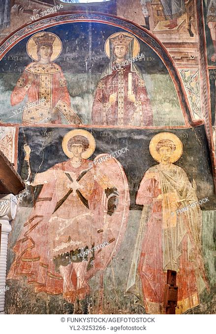 Pictures & images of the interior frescoes of Ubisa St. George Georgian Orthodox medieval monastery, Georgia (country)