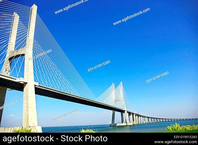 Modern bridge in river Tejo, Portugal