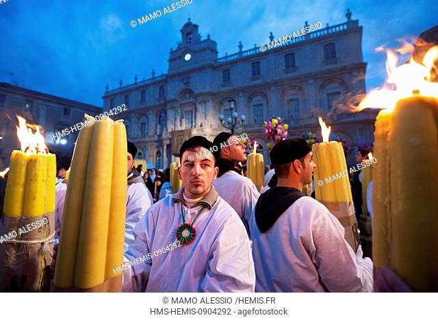 Italy, Sicily, Catania, listed as World Heritage by UNESCO, Sant'Agata festivity, young devotees