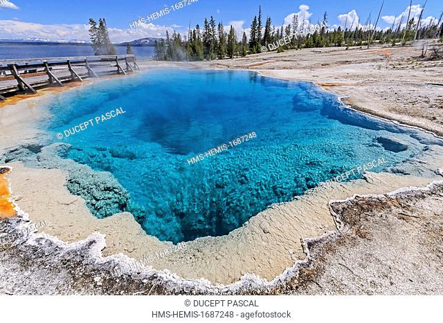 United States, Wyoming, Rocky Mountains, Yellowstone National Park listed as World Heritage by UNESCO, West Thumb Geyser Basin, Black Pool