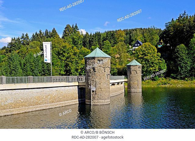 Furwigge reservoir, dam, retaining lake, Meinerzhagen, Ebbegebirge Nature Park, Sauerland region, North Rhine-Westphalia, Germany / Fürwiggetalsperre
