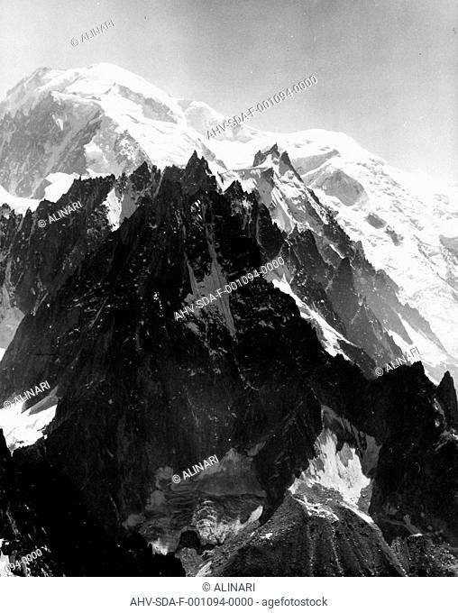 Snow-capped peak of Les Grand Montets, the French side of Mont Blanc, shot 1950-1960 by Stanimirovitch, Dušan