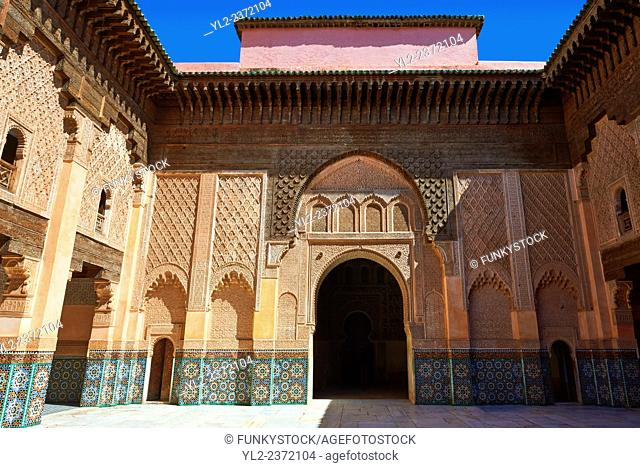 Berber arabesque Morcabe plasterwork of the 14th century Ben Youssef Madersa (Islamic college) re-constructed by the Saadian Sultan Abdallah al-Ghalib in 1564...