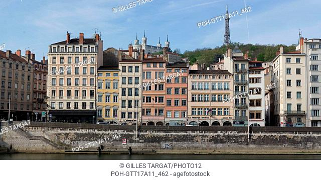France, Lyon, Quays of the Saône River, Quai de Bondy, facades of buildings, Basilica Notre Dame de Fourvière, Photo Gilles Targat