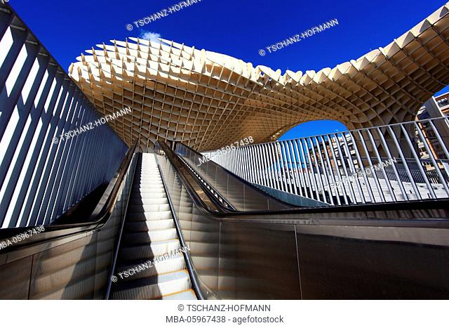 Spain, Andalusia, in the old town of Seville, the Metropol Parasol is a piece of art on the square Plaza de la Encarnacion