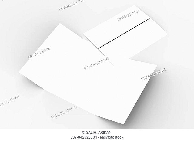 Double gate fold vertical brochure mock up isolated on soft gray background. 3D illustrating