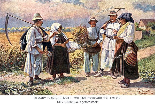 Peasant folk meet for a chat at the Crossroads in Slavonia, a historical region in eastern Croatia