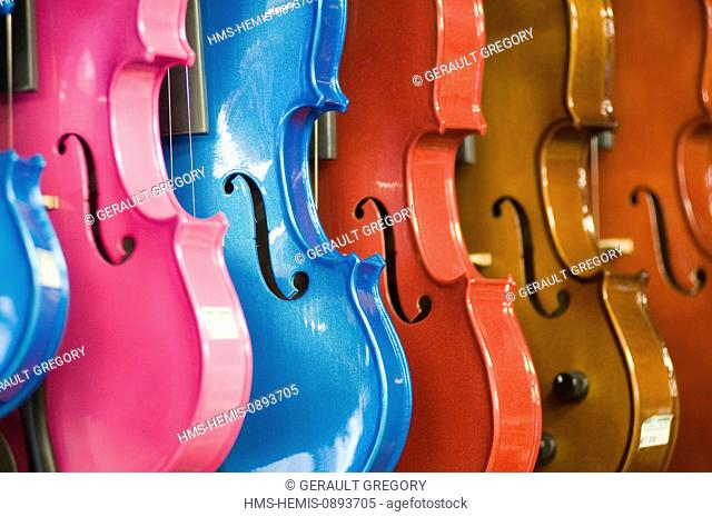 Ireland, County Kerry, Killarney, violins in a music store