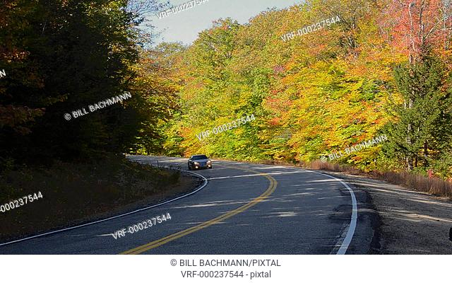 Kancamagus Highway New Hampshire near Conway road driving in fall foliage in Northern New England in October color