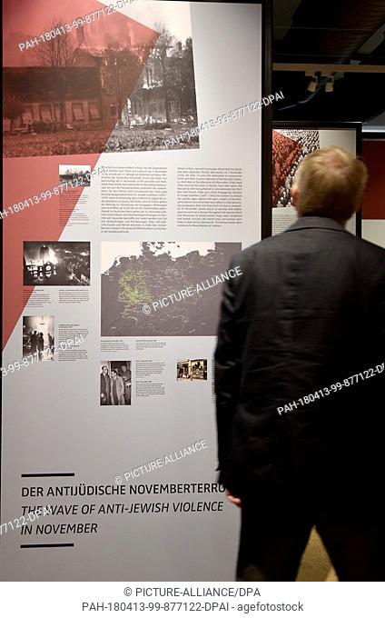 13 April 2018, Germany, Oranienburg: A new exhibition at Sachsenhausen 'Der Weg in den Abgrund - Das Jahr 1938' (lit. the way into the abyss - the year 1938) is...