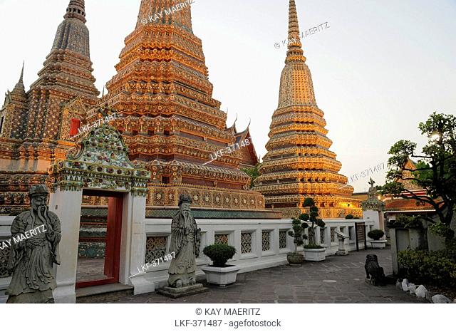 Chedis at the temple of the Reclining Buddha, Wat Pho, Bangkok, Thailand, Asia