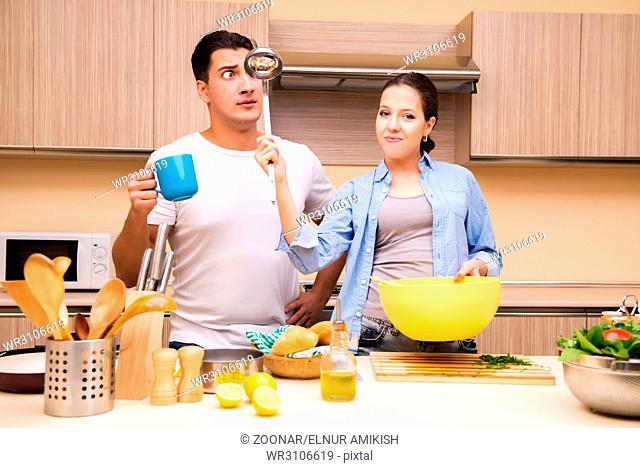 Young family in the kitchen
