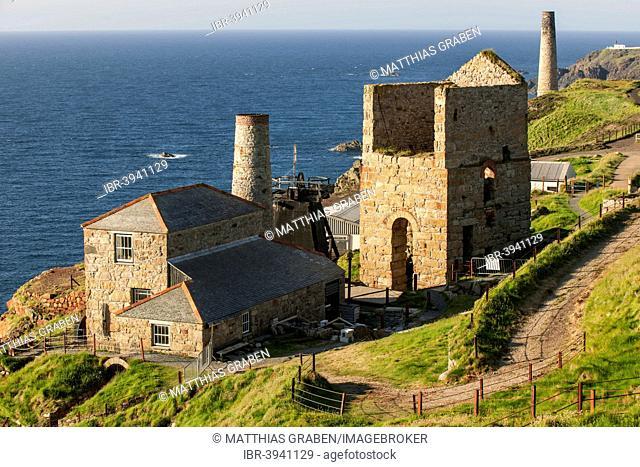 Pump house and ventilation house of the former tin and copper mine Levant Mine, Trewellard, Cornwall, United Kingdom