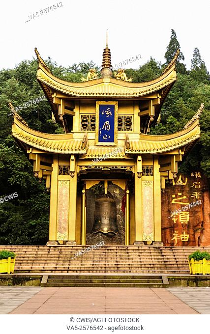 Emei Mountain, Sichuan province, China - The gold temple at the entrance