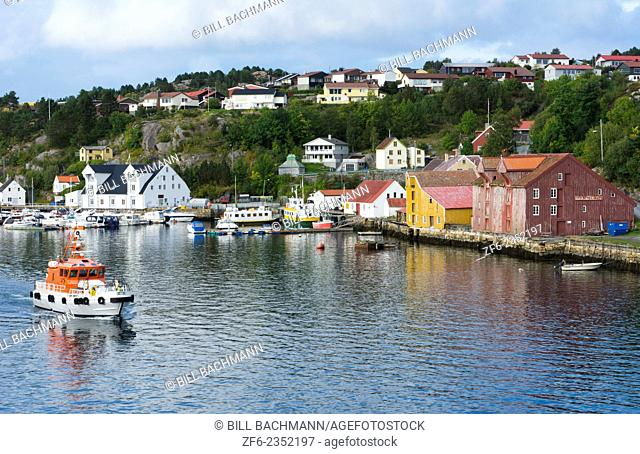 Kristiansund Norway cruise Hurtigruten colorful village from water of fishing village and city