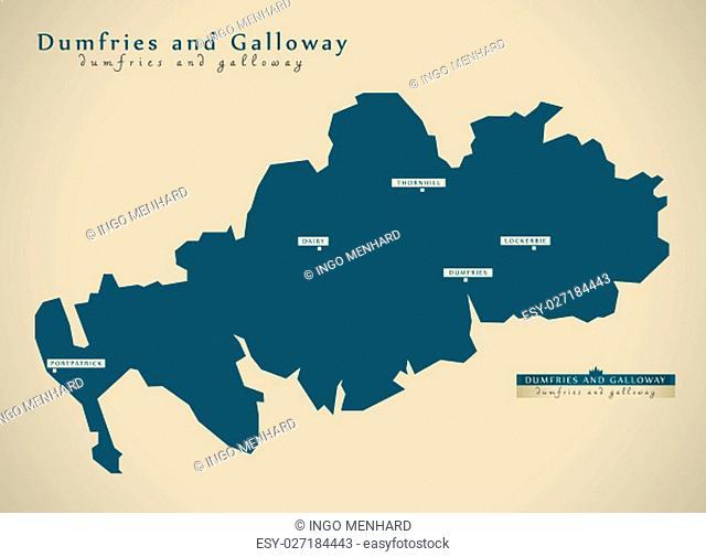 Modern Map - Dumfries and Galloway UK Scotland illustration