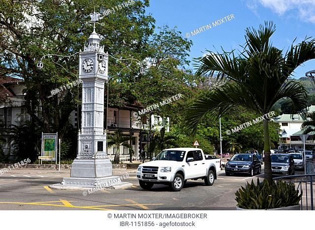 Clock Tower on the corner of Albert Street and Independence Avenue, the capital city of Victoria, Mahe Island, Seychelles, Indian Ocean, Africa