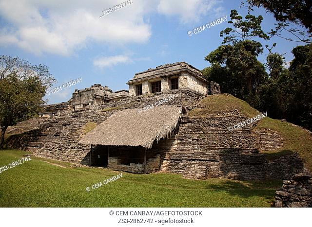 View to the buildings in Grupo Norte in Palenque Archaeological Site, Palenque, Chiapas State, Mexico, Central America