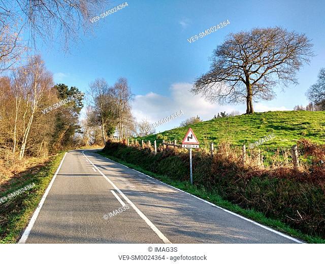 Local road between Nava and Sariego, Asturias, Spain
