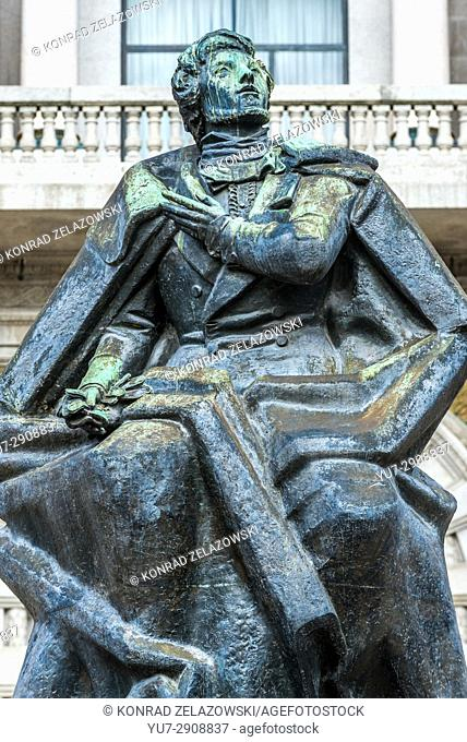 Statue of Portuguese poet, playwright, novelist and politician Almeida Garrett in front of Porto City Hall, Portugal