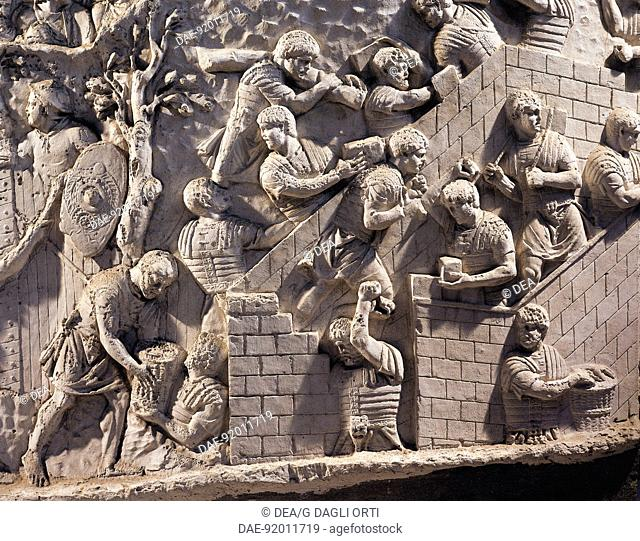 Roman civilization, 2nd century A.D. Cast of Trajan's Column. Detail: soldiers building fortifications in Dacia.  Bucharest