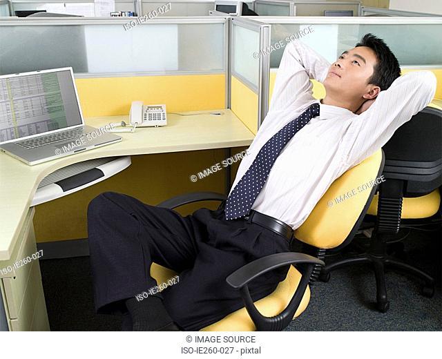 Office worker taking a break