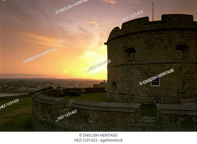 The keep of Pendennis Castle, Cornwall, at sunset, 1997. The original castle consisted of the keep, seen here against the sunset