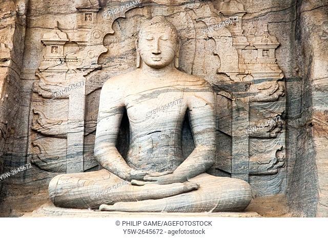 Buddha carved from living stone at Gal Vihara, Polonnaruwa, Sri Lanka