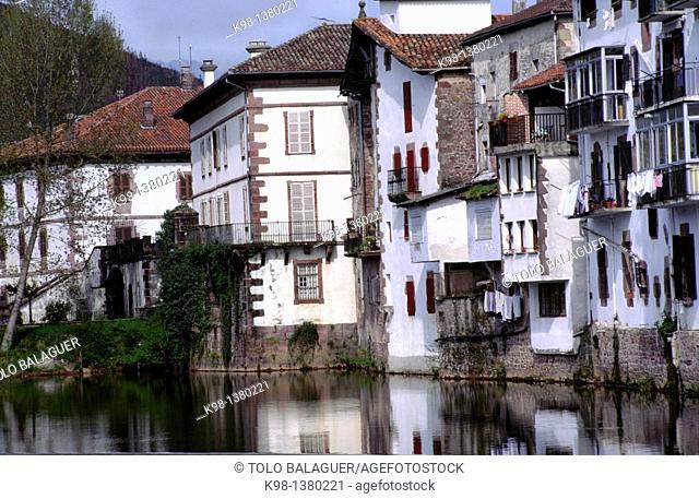 Houses on the river Bidasoa, Elizondo, Baztán Valley Navarra Spain