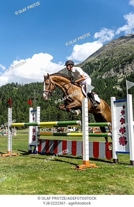 Summer horse jumping during the St.Moritz Concours Hippique, Engadine, Switzerland
