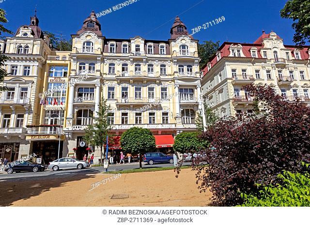 Buildings and Hotels on Main street, Marianske Lazne (Marienbad), a spa town, West Bohemia, Czech Republic