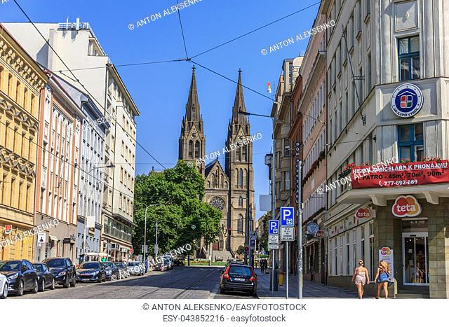 Prague, Czech Republic - August 17, 2018: Peace Square and the Church of St. Ludmila