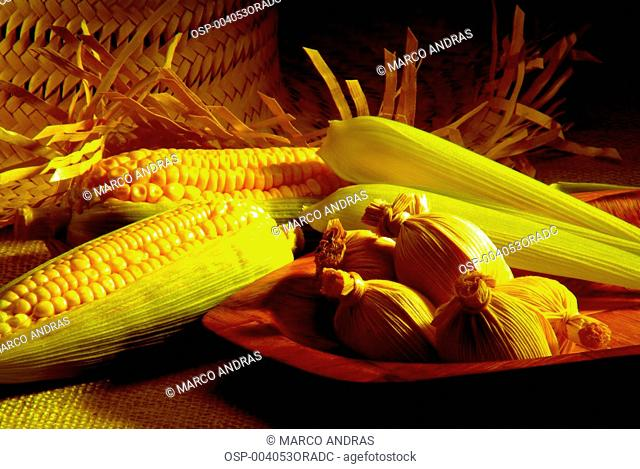 corn ears and pamonha dish for june celebrations