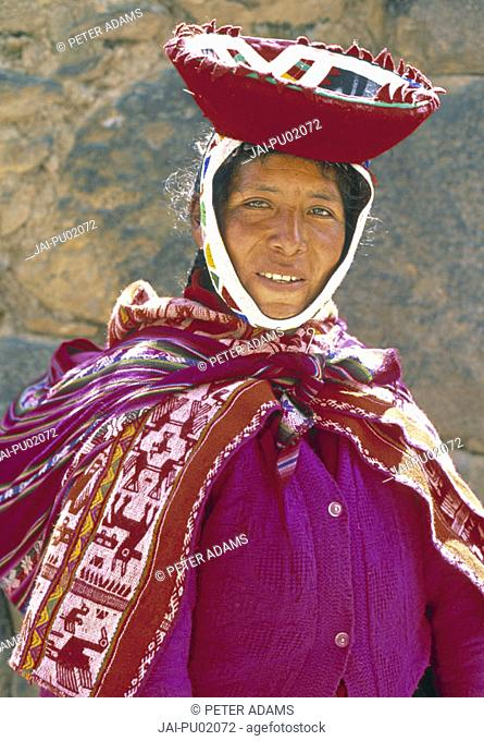 Portrait of a woman in colourful dress, Peru