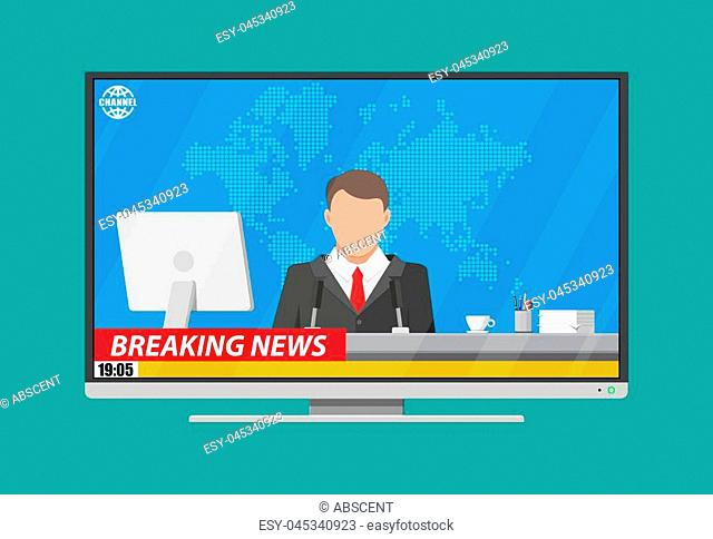 Modern flat screen tv with news, desktop pc, coffee, world map. News announcer in the studio. Journalism, live report, breaking hot news