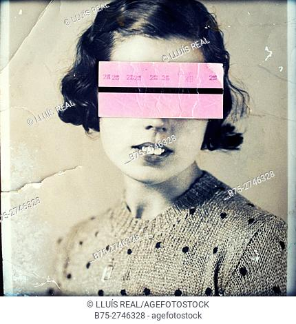 Antique portrait of young woman looking at the camera, with a pink subway ticket covering her eyes