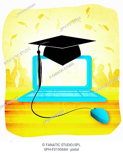 Mortar board on a laptop, illustration