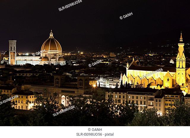 Santa Maria del Fiore and Santa Croce at night, Florence, Italy
