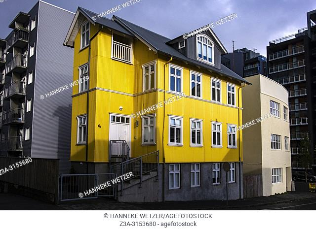 Yellow house in Reykjavik, Iceland