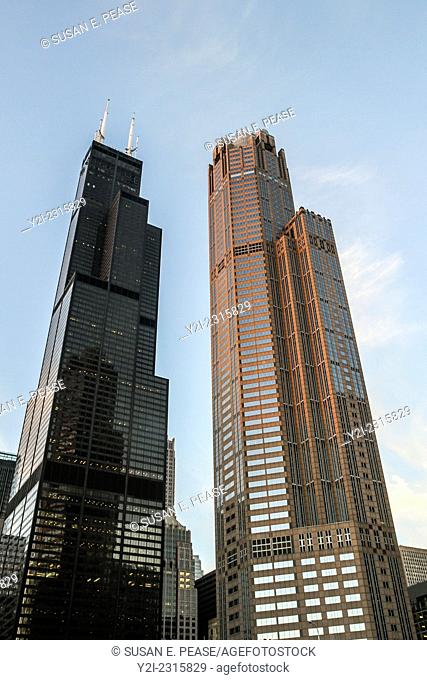 The Willis Tower, formerly known as the Sears Tower, and 311 South Wacker Drive, Chicago, Illinois, United States