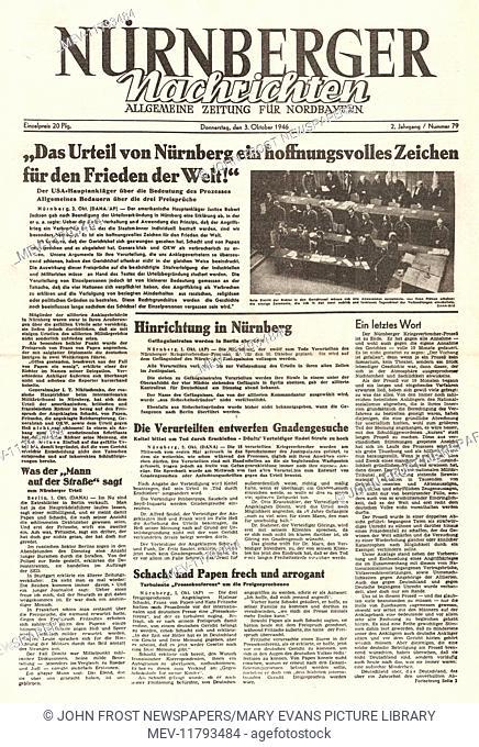 1946 Nurnberger Nachtrichten front page Nazi leaders sentenced to death