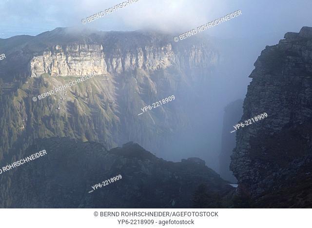 mountains with fog, Niederhorn, Bernese Oberland, Switzerland