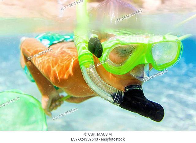 Underwater boy snorkeling