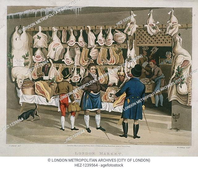 'London Market', 1822; showing an interior and exterior view of a butchers shop. Outside the shop a butcher is displaying his meat which has been decorated with...