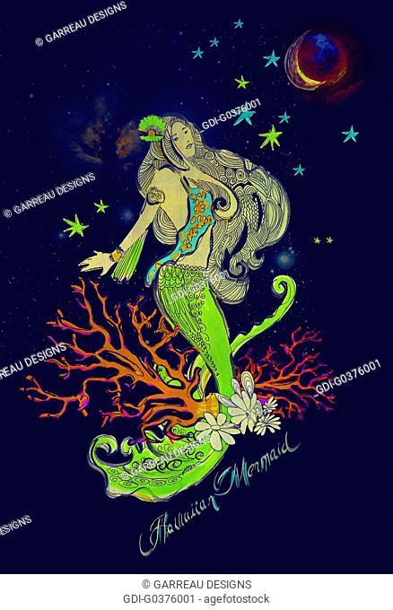 Celestial mermaid illustration